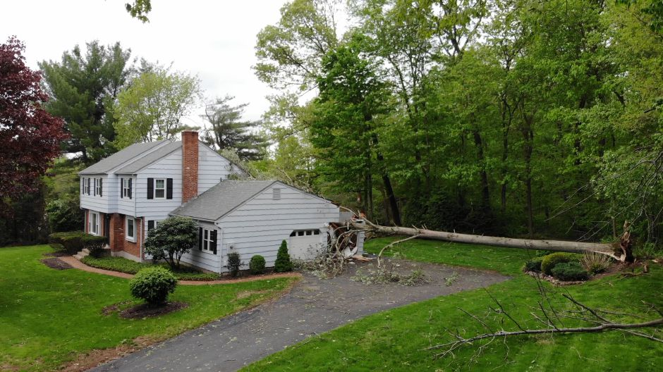 A tree fell on an attached garage on Wintergreen Lane in Cheshire. | Richie Rathsack, Record-Journal