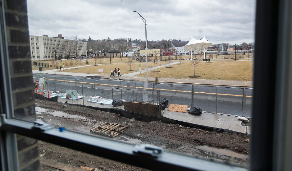 View from a window of an apartment facing the Meriden Green in Meriden Commons l on State Street, Friday, Feb. 16, 2018. The developer is accepting applications for the 75 apartments in the complex, expected to open in April. Dave Zajac, Record-Journal