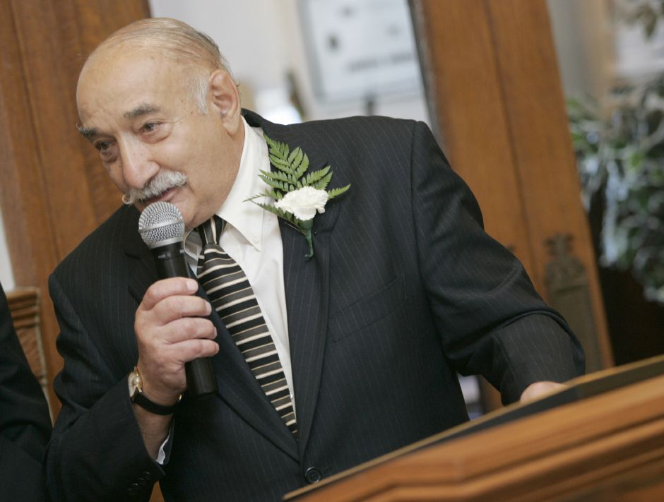 Joseph F. Carabetta speaks during the Meriden Hall of Fame Twenty-Eighth Annual Induction Ceremony held at Augusta Curtis Cultural Center in Meriden Sunday afternoon October 21, 2007.