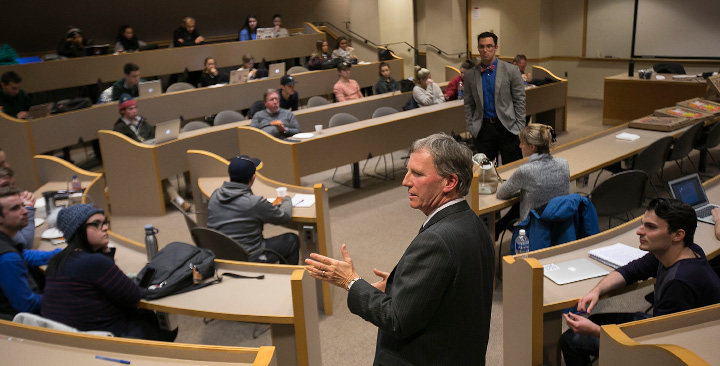 Attorney William Fish speaks to students during a freedom of speech presentation at Quinnipiac University in Hamden on Monday.  | Dave Zajac, Record-Journal