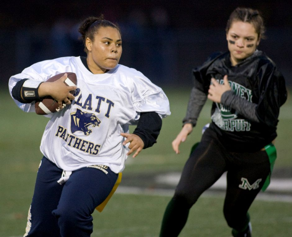Platt quarterback Shivona Clemons looks for an opening as Maloney