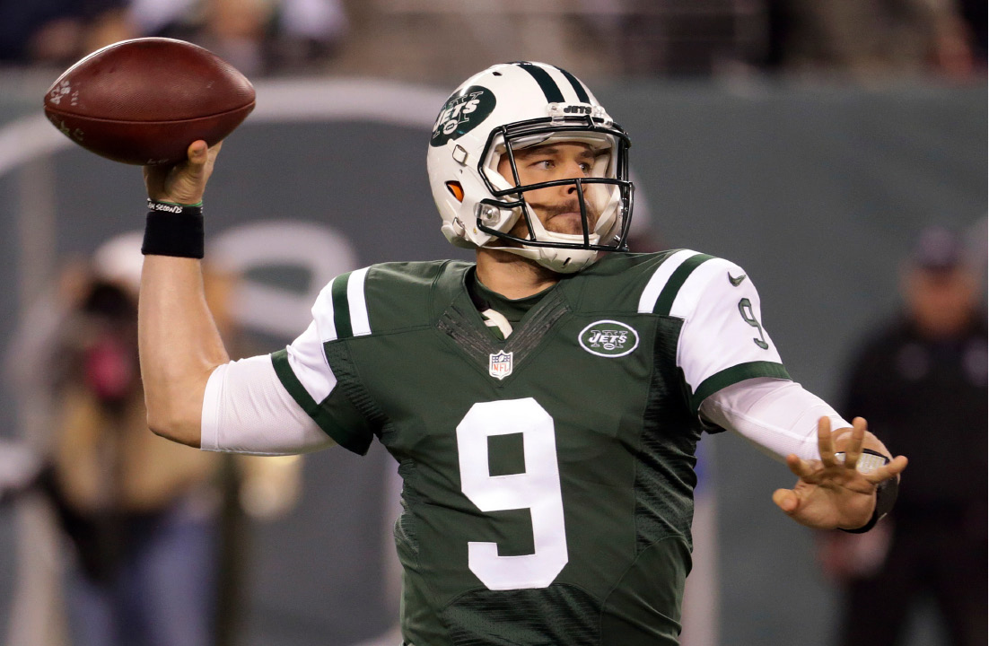 FILE - In this Dec. 5, 2016, file photo, New York Jets quarterback Bryce Petty looks to pass against the Indianapolis Colts during the second half of an NFL football game in East Rutherford, N.J. Petty will make his fourth NFL start after his status was uncertain earlier in the week after suffering a bruised chest against Miami last Saturday, Dec. 17, 2016. (AP Photo/Seth Wenig, File)