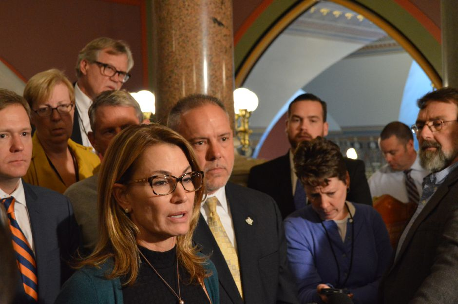 House Minority Leader Themis Klarides, R-Debry, and House Speaker Joe Aresimowicz, D-Berlin, tell reporters at the Capitol that they have agreed on the framework of a budget deal (file photo). | Mike Savino, Record-Journal
