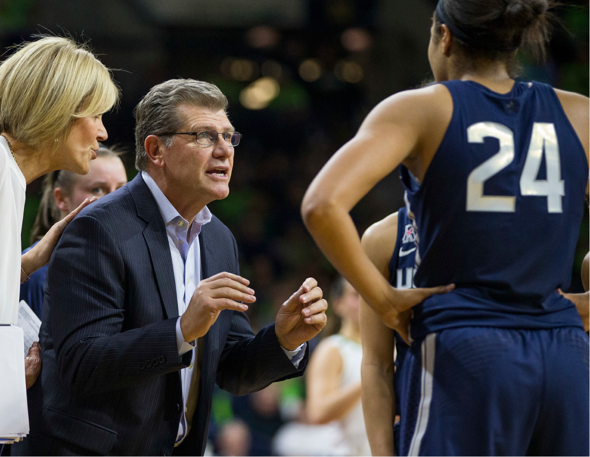FILE - In this Dec. 7, 2016, file photo, Connecticut head coach Geno Auriemma talks to his team during a timeout in an NCAA college basketball game against Notre Dame in South Bend, Ind. Geno Auriemma didn