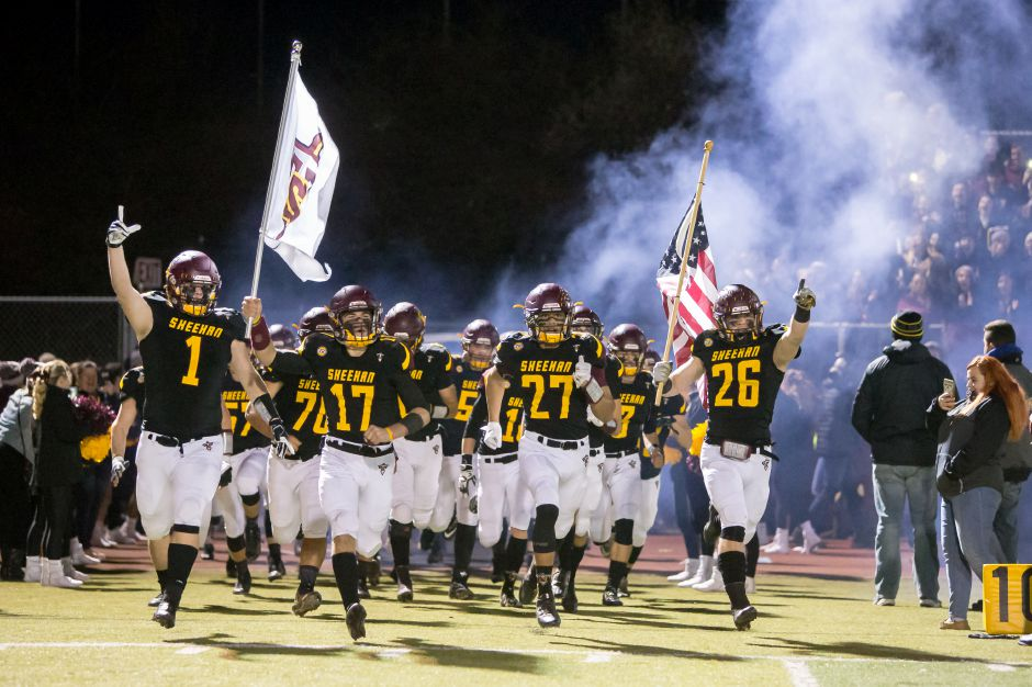 The Sheehan Titans take the field Monday during the CIAC Class M semifinals at Riccitelli Field in Wallingford December 3, 2018 | Justin Weekes / Special to the Record-Journal