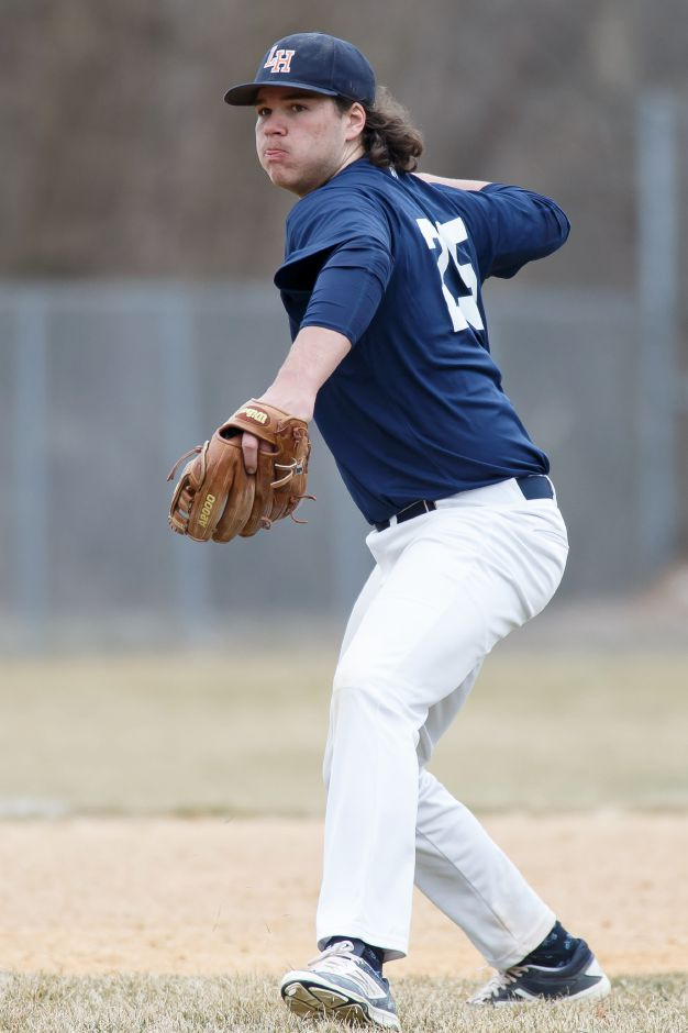 Russ Edeen got the final two outs Wednesday to save Lyman Hall's 3-2 victory over Wilbur Cross at Pat Wall Field. | Justin Weekes / Special to the Record-Journal