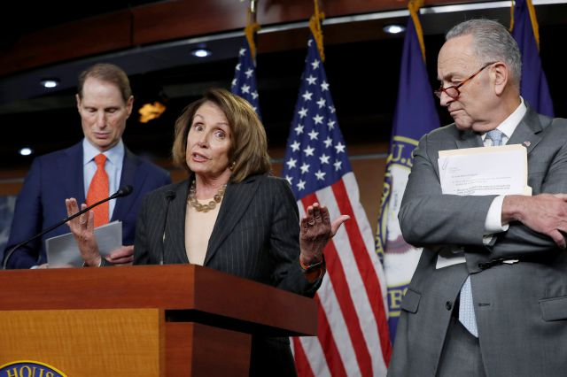 "FILE - In this Nov. 2, 2017 file photo, House Minority Leader Nancy Pelosi, D-Calif., flanked by Sen. Ron Wyden, D-Ore., the ranking member of the Senate Finance Committee, left, and Senate Minority Leader Chuck Schumer, D-N.Y., holds a news conference on Capitol Hill to respond to the Republican tax reform plan in Washington. Top Democratic leaders in Congress have abruptly pulled out of a planned meeting with President Donald Trump after he attacked them on Twitter. Trump tweeted early Tuesday that ""I don"