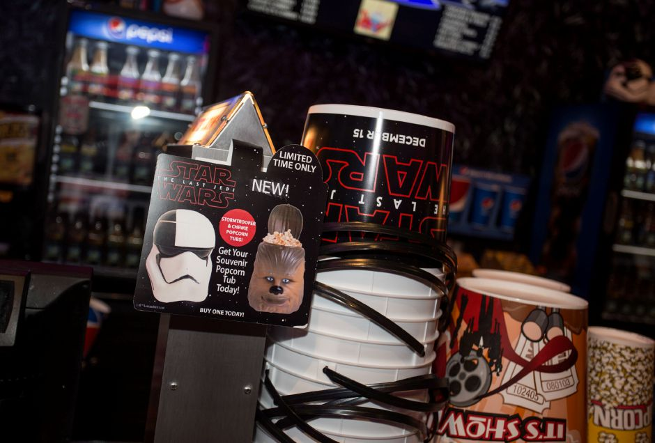 Holiday Cinemas in Wallingford has lots of Star Wars items at the concession stands including popcorn tubs and light saber cups. | Richie Rathsack, Record-Journal staff