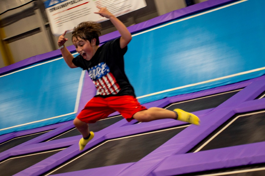 Jeremiah Byrne, 11, of Wolcott catches some air on the trampoline at Extreme Air in Cheshire July 31, 2018. | Richie Rathsack, Record-Journal