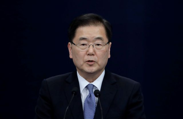 "South Korean delegation head, National Security Director Chung Eui-yong speaks to the media at the presidential Blue House in Seoul, South Korea, Tuesday, March 6, 2018. The delegation led by Chung returned to the South Tuesday after North Korean leader Kim Jong Un held an ""openhearted talk"" with the envoys. (AP Photo/Lee Jin-man)"