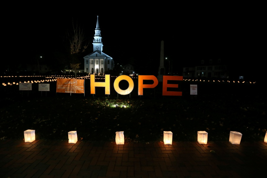 A luminaria display in front of First Congregational Church of Cheshire on Saturday during the 15th annual Lights of Hope for Cheshire charities. Photos by Emily J. Tilley, special to the Record-Journal