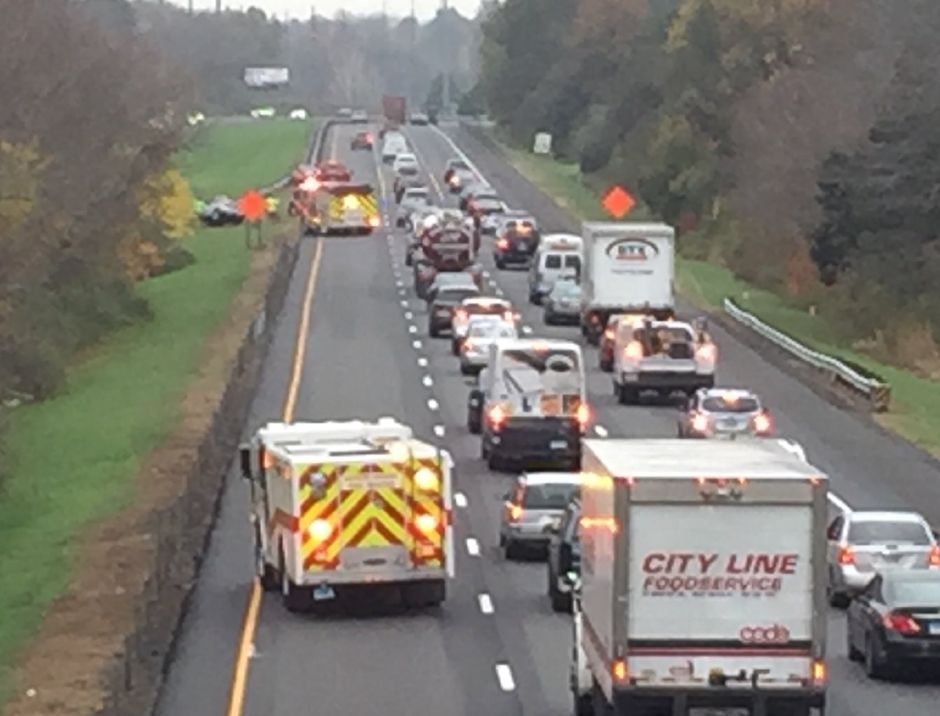 Emergency crews responded to a crash on Interstate 91 south in Wallingford on Monday, Nov. 6, 2017. | Bailey Wright, Record-Journal
