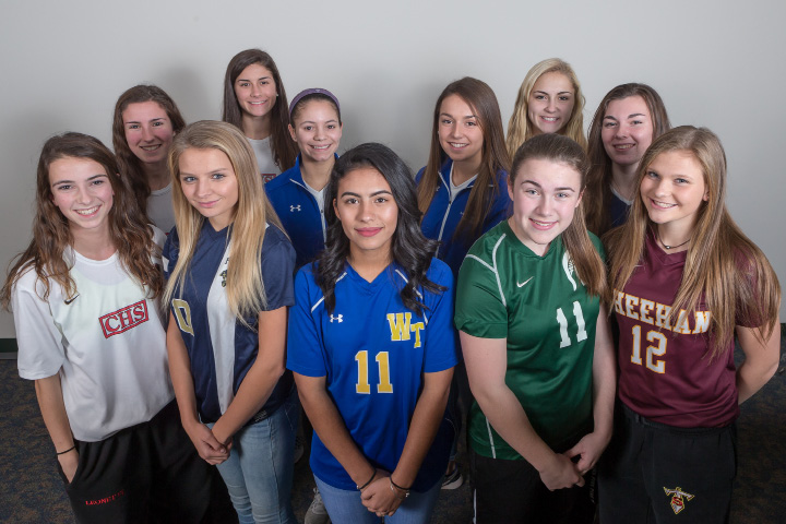 Introducing the All-Record-Journal Girls Soccer Team. In the front row, from left, are Cheshire's Allison Leonetti, Platt's Elizabeth Garlock, Wilcox Tech's Melanie Lacott, Maloney's McKenzie Wrinn and Sheehan's Kelsey Burr. In the middle row, from left, are Cheshire's Sarah Clark, Southington's Alijah Vega and Abigail Connolly, and Lyman Hall's Demiree Cyr. In the back, from left, are Cheshire's Saige Bingman and Sheehan's Samantha Larkin. | Justin Weekes, Special to the Record-Journal