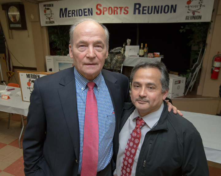 The 2017 honorees Louis Bertagna, left, and Luis Murillo, Tuesday during the 36th annual Meriden Sports Reunion at the Meriden Elks Lodge 35. | Justin Weekes, Special  to the Record-Journal