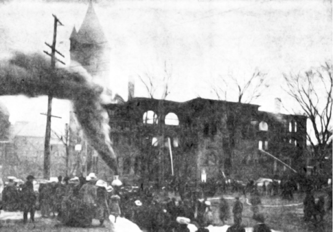 Smoke from a steam pumper rises to the sky at the scene of the old Town Hall fire on Feb. 14th, 1904 in Meriden. (this was in the Sesquicentennial edition on June 16, 1956.)