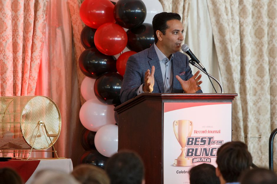 Keynote speaker ESPN Sportscenter Kevin Negandhi Sunday during the third annual Record-Journal Best of the Bunch Brunch Awards at the Aqua Turf Club in Plantsville June 24, 2018 | Justin Weekes / Special to the Record-Journal