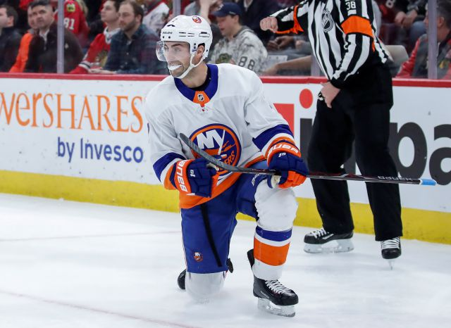 New York Islanders center Jordan Eberle celebrates after scoring against the Chicago Blackhawks during the first period of an NHL hockey game Saturday, Jan. 20, 2018, in Chicago. (AP Photo/Kamil Krzaczynski)