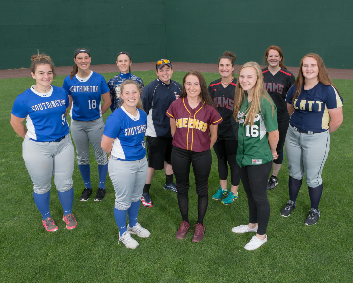 Introducing the All-Record-Journal Softball Team for the 2017 season. Posing in the outfield at New Britain Stadium are, in front, left to right, Amanda Delorme of Southington, Erin Dighello of Sheehan and Anna Hendrickson Maloney. Arrayed in the back, from left to right, are the Southington battery of Maighread Scafariello and Kara Zazzaro, Wilcox Tech's Renee Sousa, Lyman Hall's Morgan Tuscano, Cheshire teammates Sam Simione and Abby Abramson, and Platt's Machaila Arjavich. | Justin Weekes / Special to the Record-Journal