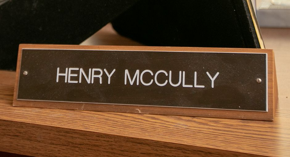 Nameplate of Henry McCully on his desk at Wallingford Public Works on Town Farm Road, Wed., Mar. 13, 2019. McCully is retiring after more than 35 years with the department. Dave Zajac, Record-Journal