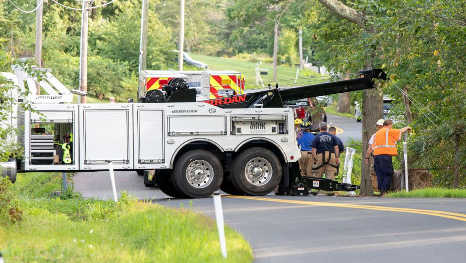 Emergency crews responded to a fatal crash on Ledge Road in Plainville on August 11, 2019. One vehicle exited the road and went down a ridge, Fire Chief Kevin Toner said. | Devin Leith-Yessian/Record-Journal