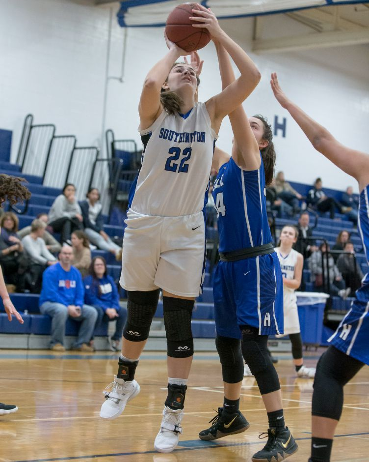 One of just two returning starters this season for Southington, sophomore Kelley Marshall leads the Lady Knights with just under 10 points a game. Photos by Justin Weekes, special to the Record-Journal
