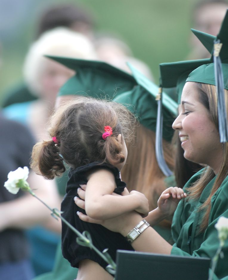 Kaoutar Tayoubi, right, lifts up her 3 year old niece Aya Solah who gave her aunt a quick visit during the graduation. This is at the graduation ceremonies at Maloney High School in Meriden Tuesday June 12, 2006. Chris Angileri/Record-Journal.