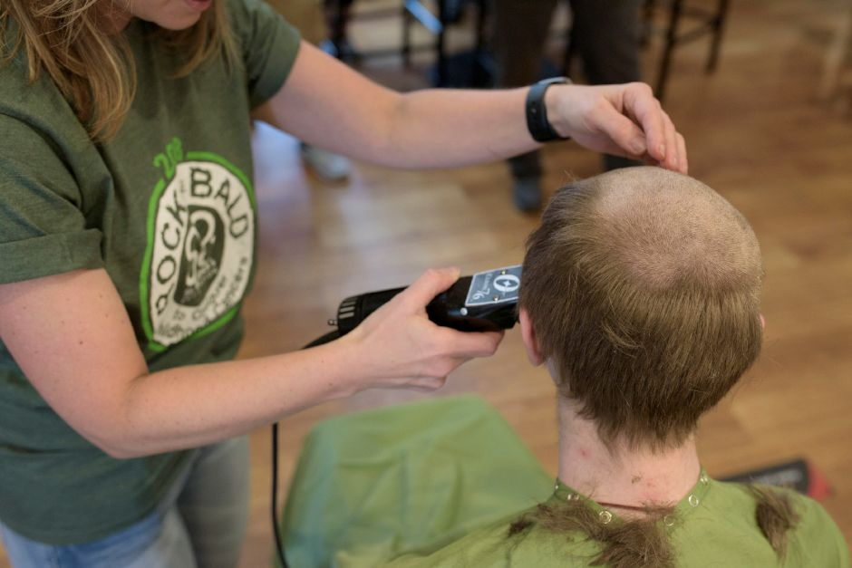 James McGovern, 14, of Wallingford shaves his head for the 2nd year during the St. Baldrick