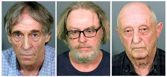 This combination of booking photos released by the Danbury Police Department shows, from left, Bruce Bemer in 2017, Robert King in 2015, and William Trefzger in 2017, all arrested in Danbury, Conn., in connection to a human trafficking ring. King and Trefzger pleaded guilty to charges in 2018 and Bemer is expected to go on trial in 2019. (Danbury Police Department/Hearst Connecticut Media via AP)