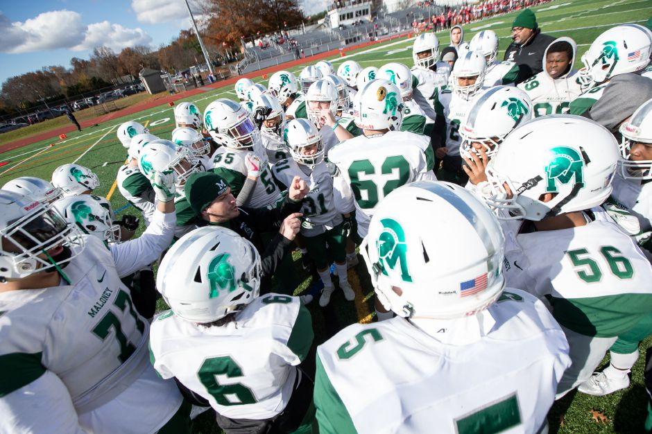 Coach Kevin Frederick has the Maloney Spartans back in a state championship football game for the first time since 2006. On Saturday, No. 6 Maloney (10-2) will face No. 1 seed and defending champ Daniel Hand (12-0) at New Britain's Veteran Stadium at 2 p.m. | Justin Weekes / Special to the Record-Journal