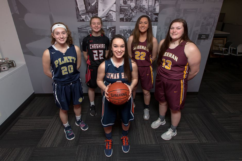 Introducing the 2018-19 All-Record-Journal Girls Basketball Team. In front is Lyman Hall's Kailey Lipka. She is flanked, left to right, by Platt's Julia Misner, Cheshire's Mia Juodaitis and Sheehan teammates Liv Robles and Caitlyn Hunt. Justin Weekes, special to the Record-Journal