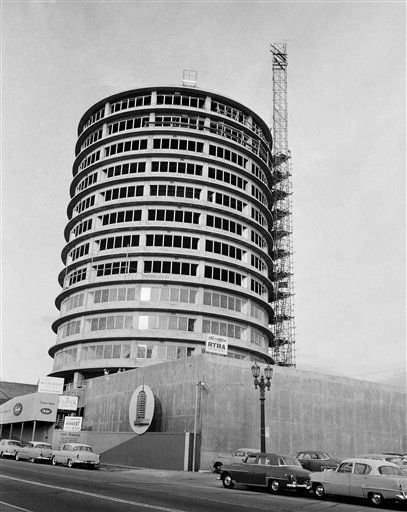 The partially completed Capitol Record Building is shown Nov. 14, 1955, Hollywood, Calif. (AP Photo)