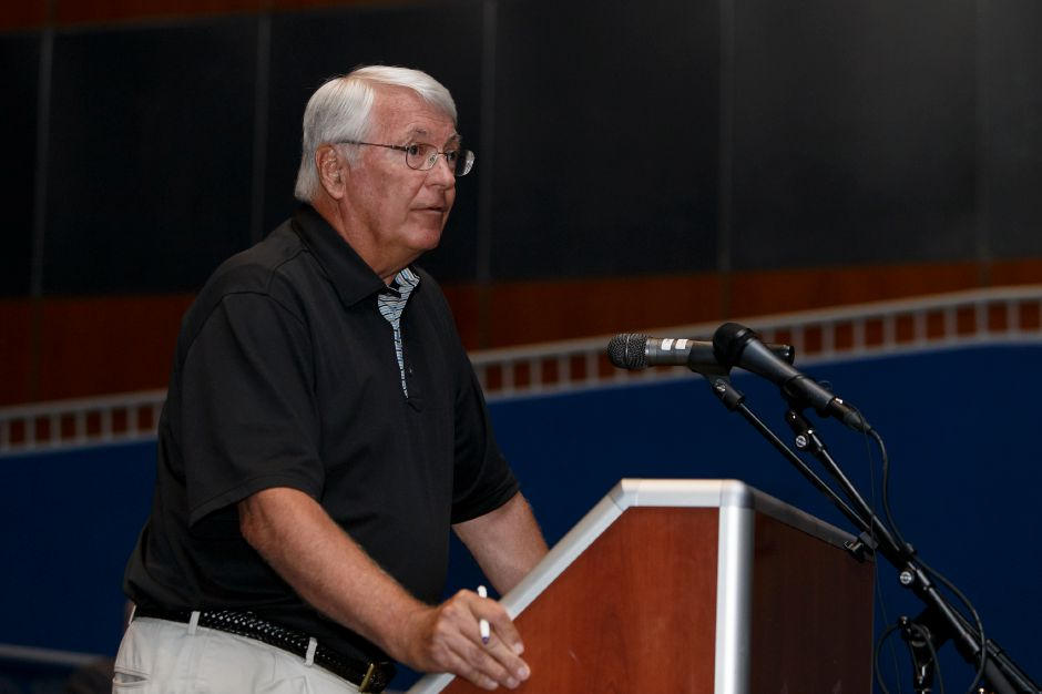 Meriden resident Mike Rohde speaks Thursday during a public hearing with the Meriden Finance Committee to speak about the tax increase at Lincoln Middle School in Meriden August 9, 2018 | Justin Weekes / Special to the Record-Journal