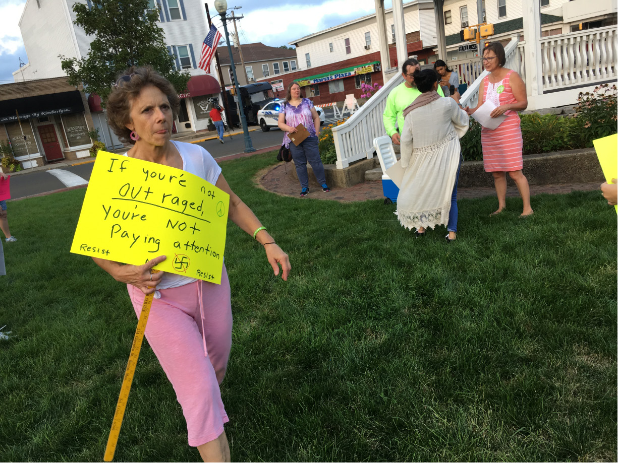 About 40 people attended a local rally against racism and other forms of discrimination Tuesday at Johanna Manfreda Fishbein Park. | Lauren Takores, Record-Journal