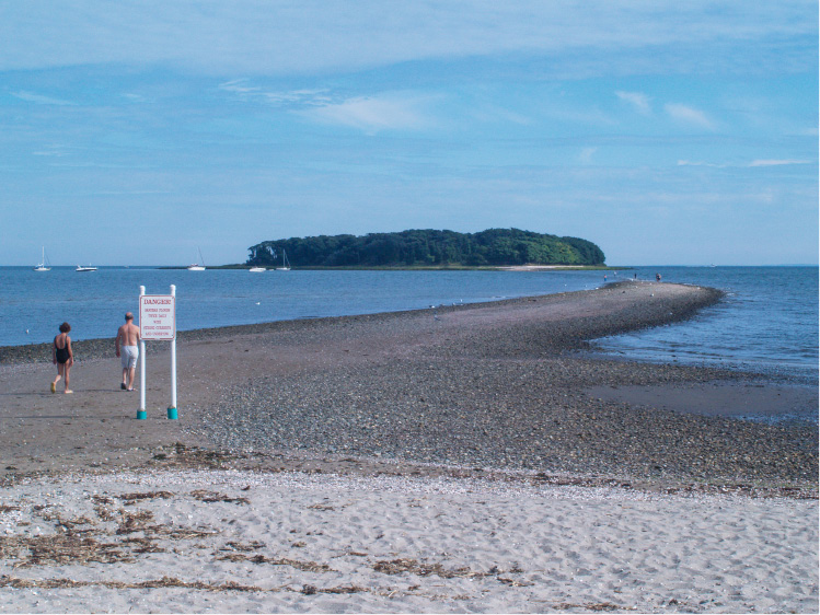 The beach at Silver Sands State Park in Milford features a tidal sandbar that leads to an island at low tide. | Richie Rathsack/Record-Journal