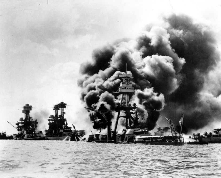 Three U.S. battleships are hit from the air during the Japanese attack on Pearl Harbor on Dec. 7, 1941. Japan