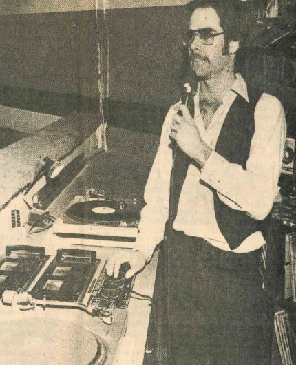 Skip Seeber in the sound booth of Skating Palace in Wallingford. | 1981