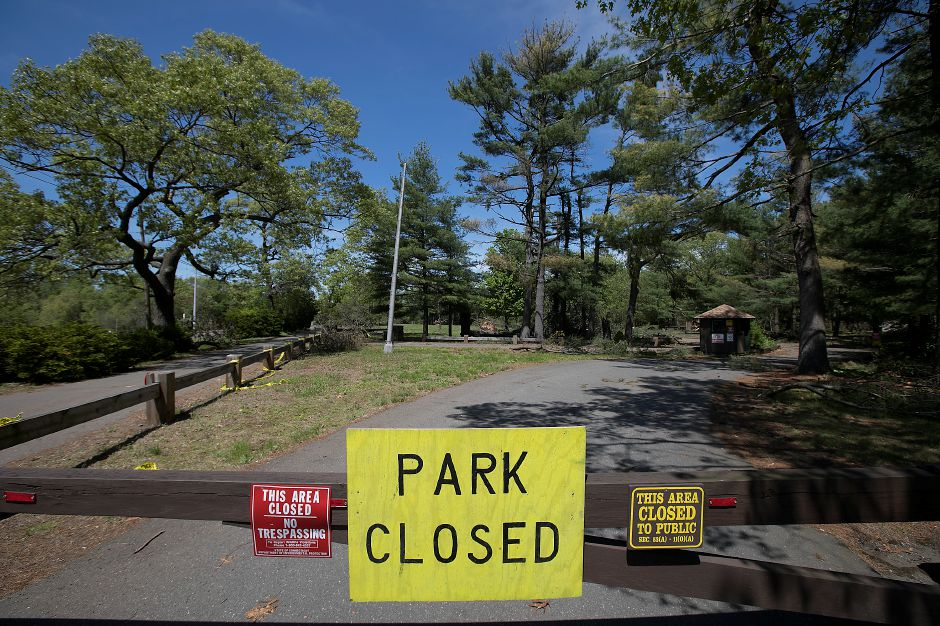 Wharton Brook State Park in Wallingford is closed, Monday, May 21, 2018. Officials say local and state parks could remain closed for weeks following last week's microburst. Dave Zajac, Record-Journal