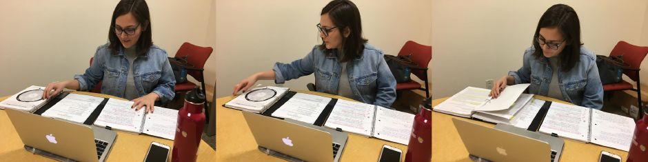Denia Perez, Quinnipiac University School of Law class of 2018, demonstrates how she studies for final exams at the North Haven campus on May 3, 2018. Perez, a DACA recipient, plans to work on immigration legal issues after receiving her juris doctorate from Quinnipiac this weekend. | Lauren Takores, Record-Journal