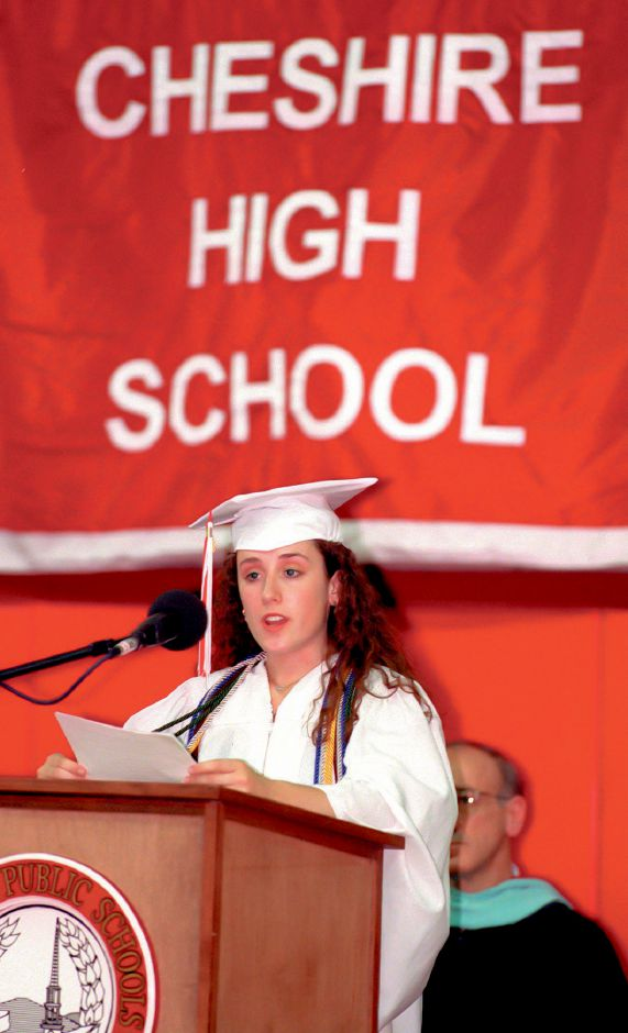 RJ file photo - Salutatorian Brooke Alanna Shuster addresses fellow graduates, friends and families in the Cheshire High School gym June 16, 1998.