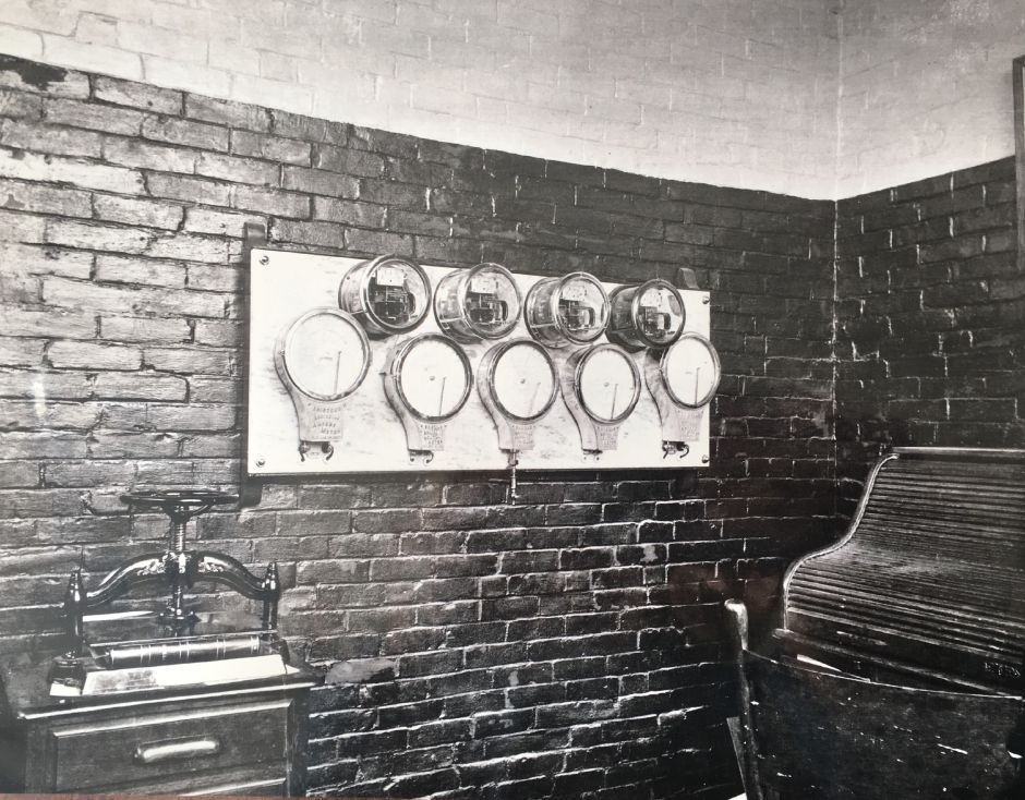 Electric panel of the superintendent's office inside the Borough of Wallingford Electric Works electricity generating plant, early 1900s. | Courtesy of Wallingford Historical Society