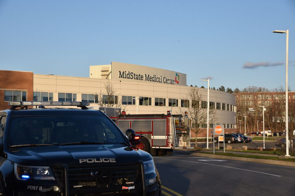Emergency crews respond to reports of a white powdery substance in the ER department of Midstate Medical Center in Meriden on Friday, April 20. | Bailey Wright, Record-Journal