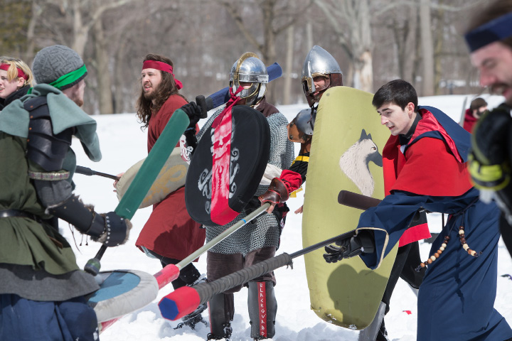 Saturday during a Dagorhir Medieval battle at Hubbard Park in Meriden. Chapters from New England participated in live battle.  Mar. 18, 2017 | Justin Weekes / For the Record-Journal