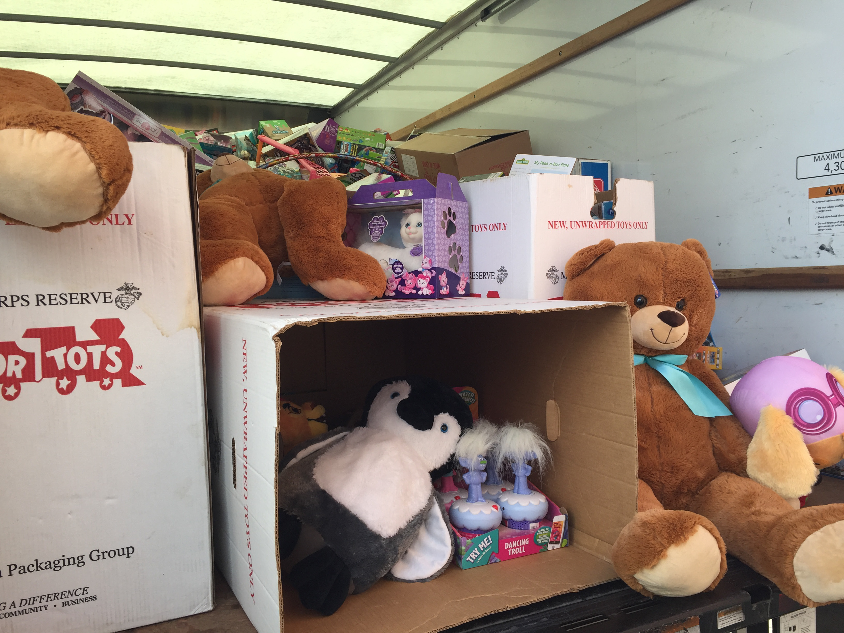 Over 1000 toys were delivered for Toys for Tots by UTC volunteers at the Plainville Marine Reserve headquarters, Friday, Dec. 2. |Ashley Kus, The Plainville Citizen.