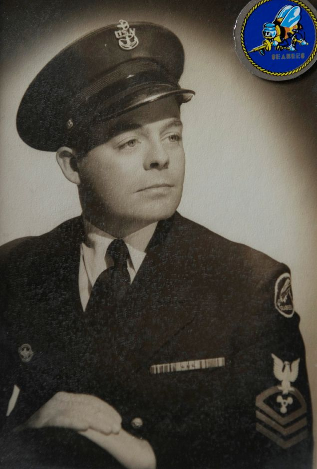 Photo of WWII U.S. Navy veteran Ralph Rowland in his military uniform at age 25. Rowland, one of the oldest members of the town's VFW post, was honored by the Town Council earlier this year. Courtesy Ralph Rowland