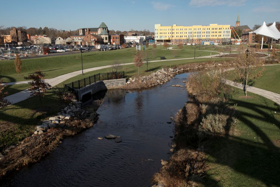 Harbor Brook as seen from the pedestrian bridge at the Meriden Green, Tuesday, Nov. 21, 2017. | Dave Zajac, Record-Journal