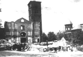 The Meriden Town Hall after the fire of Feb. 1904.