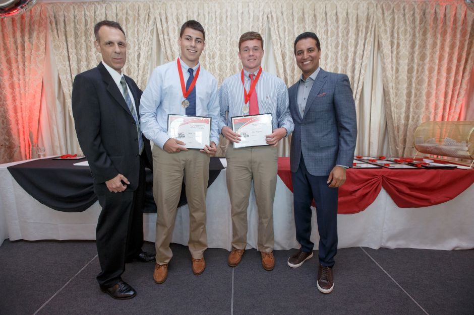 Boys Lacrosse Players of the Year Jack Raba and Tim Hoynes with Bryant Carpenter and Kevin Negandhi Sunday during the third annual Record-Journal Best of the Bunch Brunch Awards at the Aqua Turf Club in Plantsville June 24, 2018 | Justin Weekes / Special to the Record-Journal