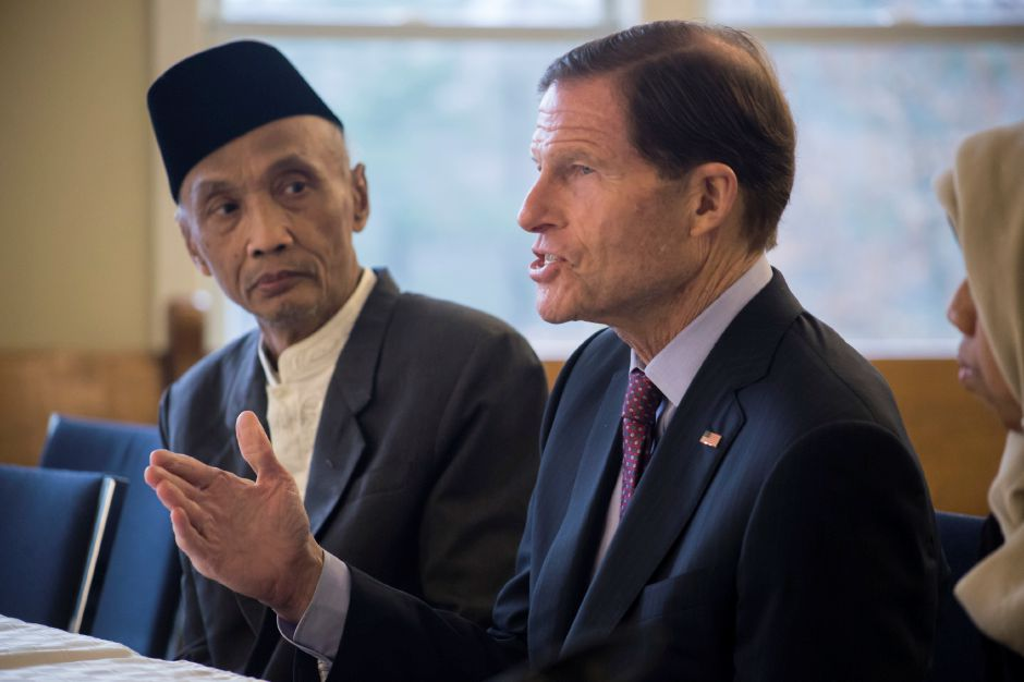 U.S. Sen. Richard Blumenthal talks during a roundtable discussion at the Unitarian Universalist Church in Meriden Nov. 22, 207. | Richie Rathsack, Record-Journal staff