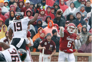 Oklahoma quarterback Baker Mayfield (6) passes against Oklahoma State in the first half of an NCAA college football game, Saturday, Dec. 3, 2016, in Norman, Okla. (AP Photo/Alonzo Adams)
