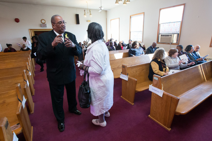 William McCoy Jr. and Debbie Booker both of Hartford prepare for service Sunday during a combined usher anniversary service held at the Parker Memorial A.M.E. Zion Church in Meriden. The combined service was dedicated to the legacy of Rev. Timothy Howard. Mar. 5, 2017 | Justin Weekes / For the Record-Journal